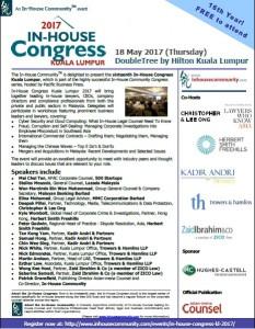 Invitation In-House Congress Kuala Lumpur 2017