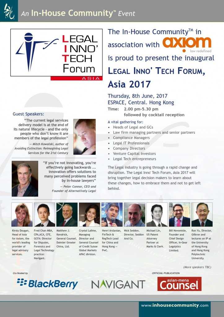 Legal Inno Tech Forum Asia Hong Kong In-House Community