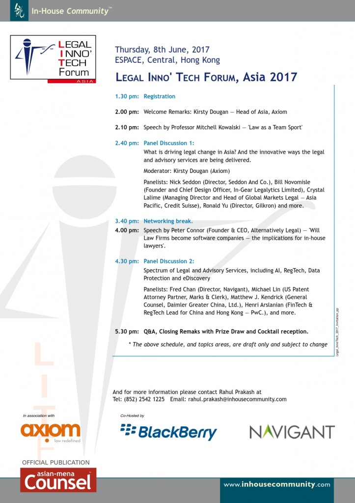 Legal Inno Tech Forum Asia Hong Kong In-House Community Day Plan