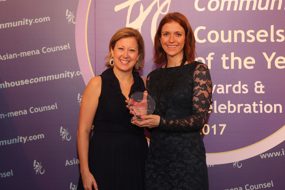 Diversity Winner: Claire Chino, General Counsel of Itochu Corporation –  Joanna Donne of Brunswick (right) receives the award on behalf of Claire Chino